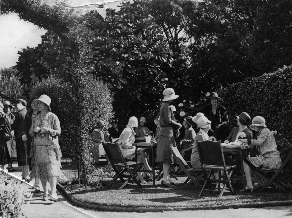 garden party with Mrs Kidd to left